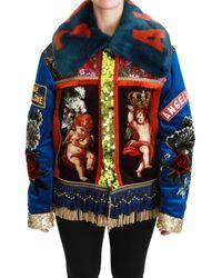 Dolce & Gabbana Angel Floral Sequined Coat Jacket Multicolour Jkt2525