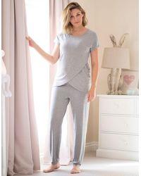 Seraphine Gray Crossover Maternity & Nursing Pajamas