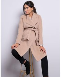 Seraphine Wool Camel Maternity Coat - Natural
