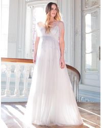 Seraphine Mist Gray Grecian Maternity Gown