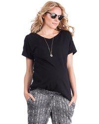 Seraphine Black Cotton Maternity & Nursing T-shirt