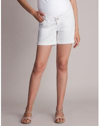 Seraphine White Denim Maternity Shorts