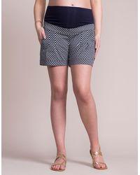 Seraphine Tile Print Cotton Maternity Shorts - Blue
