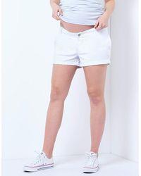 Seraphine White Cotton Maternity Shorts