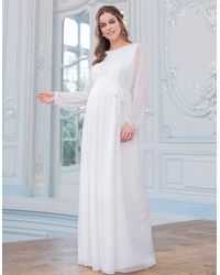 Seraphine Satin Devore Chiffon Maternity Wedding Dress - White