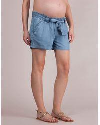 Seraphine Chambray Denim Maternity Shorts - Blue