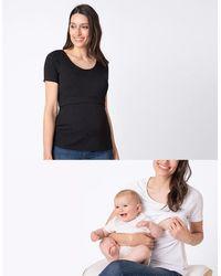 Seraphine Maternity & Nursing T-shirts – Black & White Twin Pack