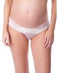Seraphine Satin & Lace Maternity Panties - Pink