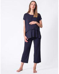 Seraphine Navy Blue Cropped Maternity & Nursing Pajamas