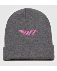 Off-White c/o Virgil Abloh Embroidered Logo Beanie Hat - Grey