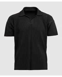 Homme Plissé Issey Miyake Basic Pleats Open Neck Polo Shirt - Black