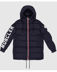 Moncler Navy Moncenisio Down Quilted Padded Long Jacket - Blue