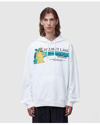 Helmut Lang Cartoon-print Cotton-jersey Hoody - White