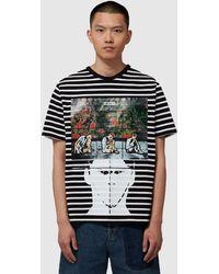 JW Anderson Gilbert And George Stripe T-shirt - Black