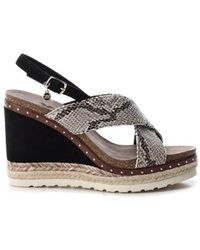 Xti Ankle Strap Buckle Wedge Sandals - Black