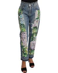 Dolce & Gabbana Hydrangea Crop Studded Jeans Blue Pan61074