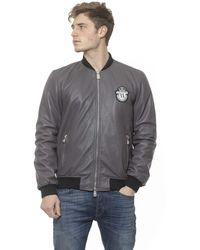 Billionaire Italian Couture Leather Bomber Jacket - Gray