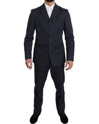Romeo Gigli Two Piece 3 Button Cotton Blue Solid Suit