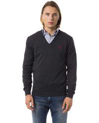 Uominitaliani Dark V-neck Sweater - Blue