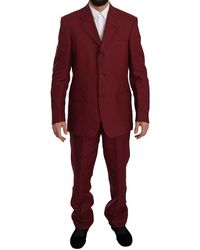 Romeo Gigli Two Piece 3 Button Bordeaux Linen Solid Suit - Red