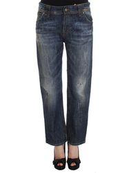 Dolce & Gabbana Blue Wash Cotton Boyfriend Fit Cropped Jeans