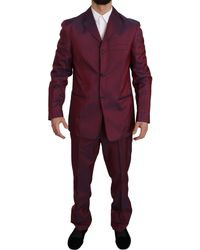 Romeo Gigli Two Piece 3 Button Bordeaux Patterned Suit - Purple