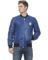 Billionaire Italian Couture Leather Bomber Jacket - Blue