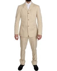 Romeo Gigli Two Piece 3 Button Beige Cotton Solid Suit - Natural