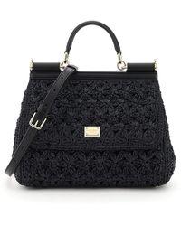Dolce & Gabbana Sicily Medium Bag Crochet Raffia - Black