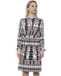 Alpha Studio Navy Blue Geometric-print Dress