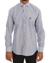 Cavalli Striped Slim Fit Dress Shirt - Blue