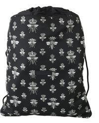 Dolce & Gabbana Black Crown Bee Print Drawstring Bag