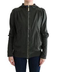 Exte Top Hooded Cotton Zipper Jumper - Black