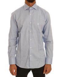 Cavalli Faded Cotton Slim Fit Dress Shirt - Blue