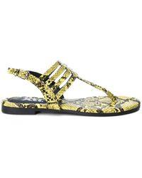 Xti Ankle Strap Buckle Flip Flops Sandals - Yellow