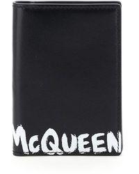 Alexander McQueen Graffiti Logo Bi-fold Card Holder - Black