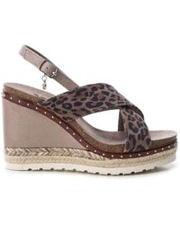Xti Ankle Strap Buckle Wedge Sandals - Brown