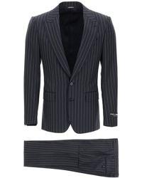 Dolce & Gabbana Sicilia Suit In Pinstripe Wool - Blue