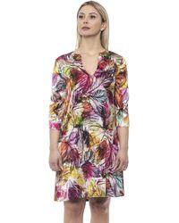 Alpha Studio Multicolor Varunica Feather-print Dress