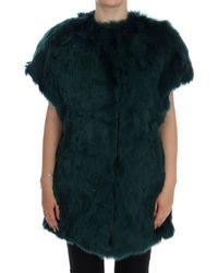 Dolce & Gabbana Green Alpaca Fur Vest Sleeveless Jacket