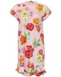 Shanghai Tang - Flower Printed Short Dress - Lyst