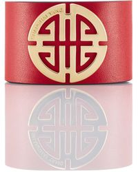 Shanghai Tang Shou Gold And Leather Bracelet - Red
