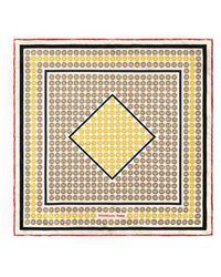 Shanghai Tang Geometrical Ornamental Print Silk Pocket Square - White