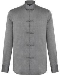 Shanghai Tang Chambray Tang Shirt Jacket With Frog Buttons - Gray