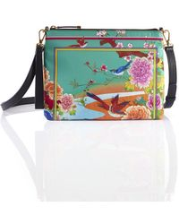 Shanghai Tang Chinese Landscape Print 2-way Clutch – Birds And Flowers - Green