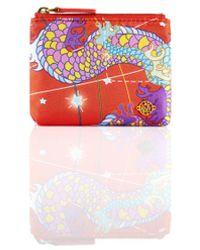 Shanghai Tang Foulard Print Silk Coin Pouch - Red