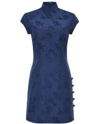 Shanghai Tang Bamboo Jacquard Qipao Dress - Blue