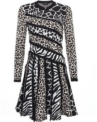 Shanghai Tang - Patchwork Animalier Knit Dress - Lyst