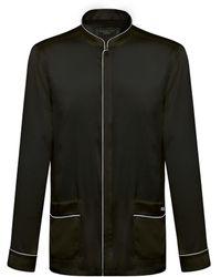 Shanghai Tang Silk Satin Pajama Shirt - Black