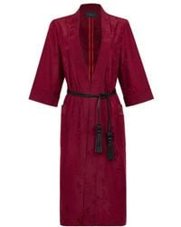 Shanghai Tang Chinoiserie Jacquard Kimono Robe With Leather Belt - Red